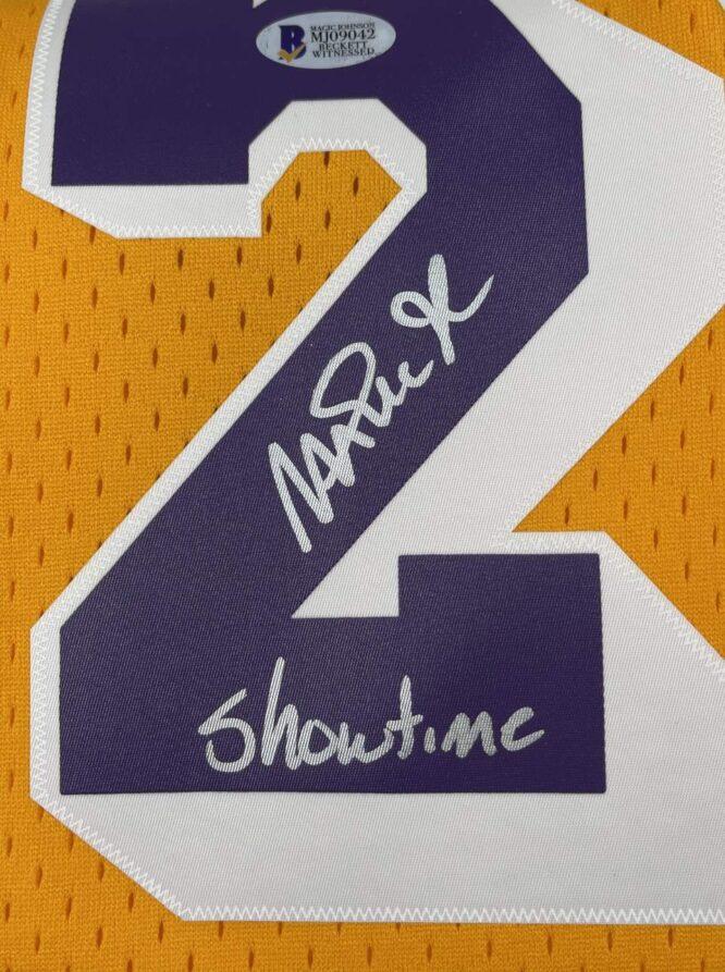 Lakers Magic Johnson Showtime Signed 84 85 MN HWC Swingman Yellow Jersey BAS MJ09042 1
