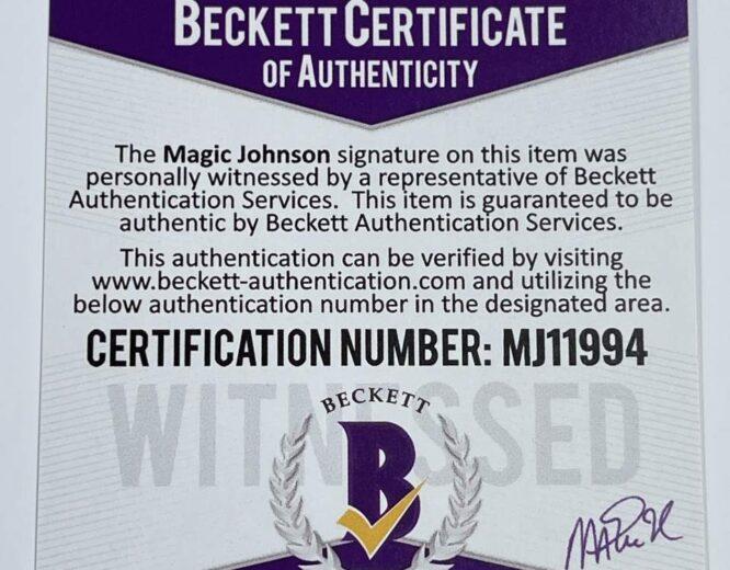 Lakers Magic Johnson Signed 1984 85 MN HWC Swingman Purple Jersey BAS MJ11994 2