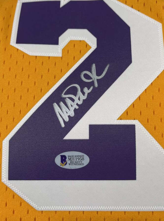 Lakers Magic Johnson Signed 1984 85 MN HWC Swingman Yellow Jersey BAS MJ11958 1