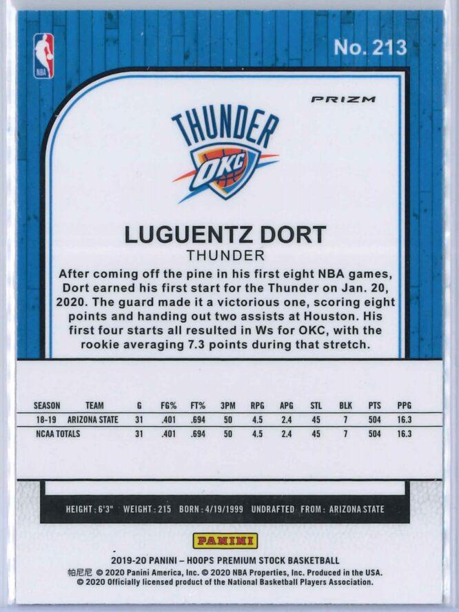 Luguentz Dort Panini NBA Hoops Premium Stock 2019 20 Gold Pulsar Prizm 2 scaled