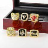 Set 6Pcs Chicago Bulls Championship Ring with Display Box Michael Jordan Fans 1