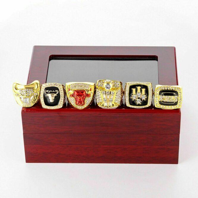 Set 6Pcs Chicago Bulls Championship Ring with Display Box Michael Jordan Fans 3