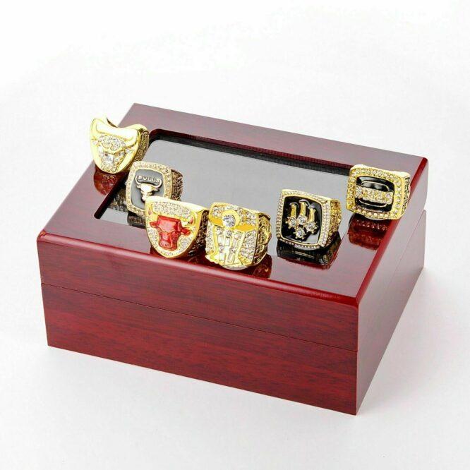 Set 6Pcs Chicago Bulls Championship Ring with Display Box Michael Jordan Fans 4