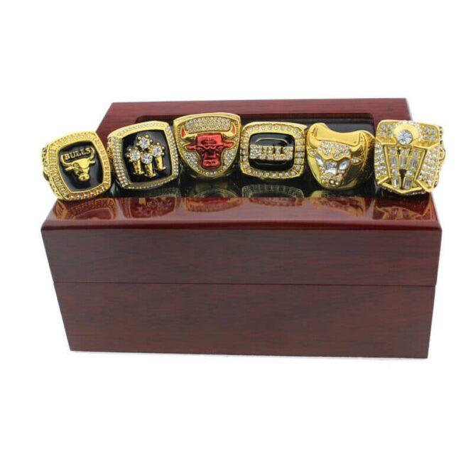 Set 6Pcs Chicago Bulls Championship Ring with Display Box Michael Jordan Fans 5