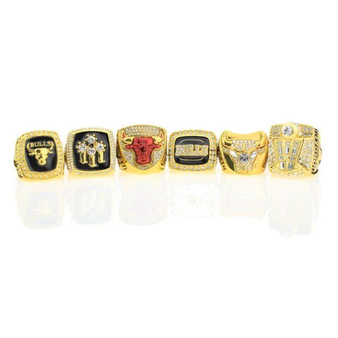 Set 6Pcs Chicago Bulls Championship Ring with Display Box Michael Jordan Fans 7