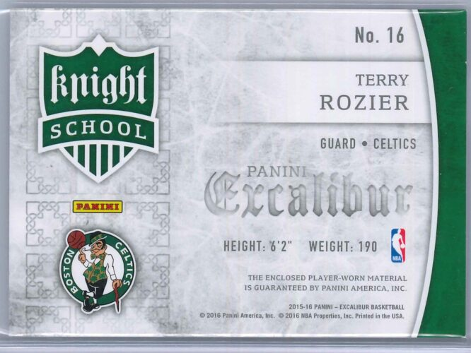 Terry Rozier Panini Excalibur 2015 16 Knight School RC Patch 2 scaled